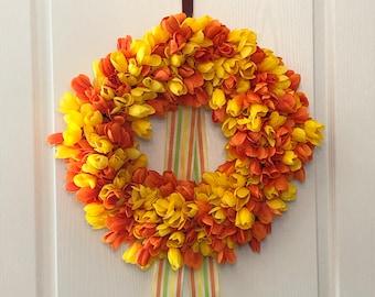 Summer Tulip Wreath, Orange and Yellow Tulip Door Hanger, Vibrant Door Decor
