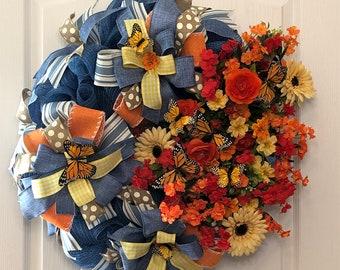 Summer Front Door Denim and Monarch Butterfly Floral Wreath, Custom Best Door Wreath, Wall Hanging