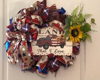 Front Door Summer Wreath, Farmhouse Door Decor, Red Truck Patriotic Custom Wreath, Rustic Sunflower Door Hanger