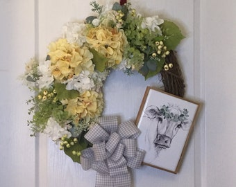 Farmhouse Round Grapevine Hydrangea Wreath, Sketch-like Cow Sign, French Farmhouse Country, Front Door Hanger