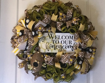 Spring/ Summer Honeybee Themed Mesh Wreath With Handmade Bee Skep Attachment, Farmhouse Country, Front Door Hanger