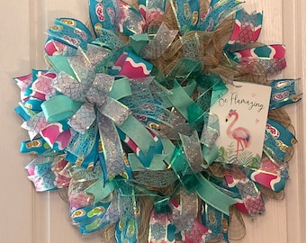Custom Summer Whimsical Wreath, Flamingo, Unique Ribbon, Best Summer Wreath,