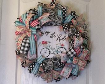 Spring/ Summer Black and White Mesh Bicycle Themed Wreath, Burlap Farmhouse Door Decor, Door Hanger, Spring/ Summer