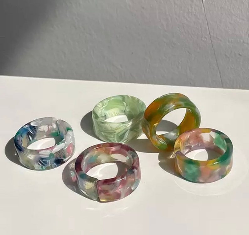 Retro Colorful Resin Rings 5 Piece Collection