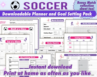 Soccer Planner for kids, Soccer Goal Setting, Soccer Schedule, Month and Yearly Planner, Match Review, Soccer Organizer, Skills Tracker