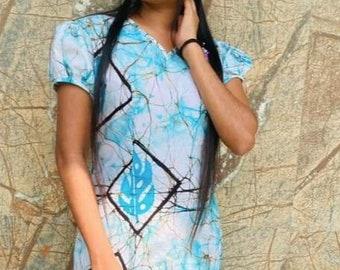 Pink Batik Tunic Sri Lankin Patterned Shirt Womens Small Medium Large