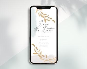 Digital Save the Date Card to Send via WhatsApp - Personalized Online Wedding Invitation Elegant #2