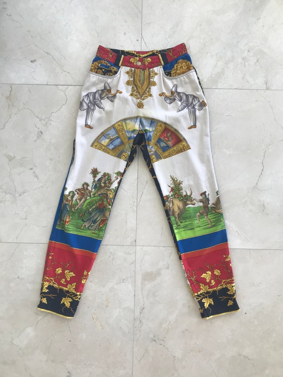 Gianni Versace Couture 1990s Print Pants Size IT44 - image 1