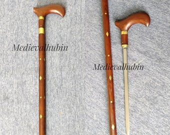 Victorian Walking Stick with a hidden inside Unisex Wooden cane (Personal Protection) ~ Gift item ~