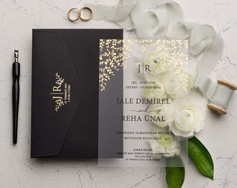 Clear Invitations OR Flexible Clear Invitations Acrylic Invites Style 94 Hydrangeas on Clear Flex Clear Invitations