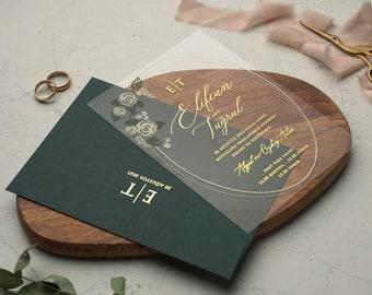 Acrylic Wedding Invitation, Elegant Green Wedding Invitations, Unique Invites, Real Foil, Acrylic Invite, Invitation Card