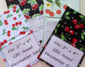 """Vaccine Card Holder for 3"""" x 4"""" CDC Vaccination Record Card, Handmade Cute Vaccine Card Holder, Cherry Fabric & Clear Vinyl Vaccine Cover"""