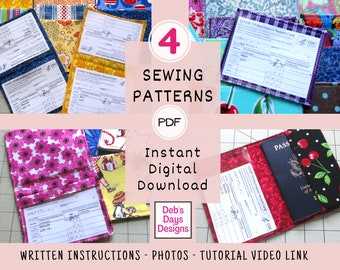 Vaccine Card Holders PDF Sewing PATTERN, 4 Pack, Instant Digital Download, Protect Vaccine Record, Sew DIY Vaccination Card Fabric Wallets