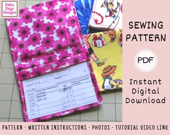 Vaccine Card Holder SEWING PATTERN Digital Download, Protect Vaccine Record, DIY Vaccine Card Fabric Wallet, Vaccination Card Storage Cover