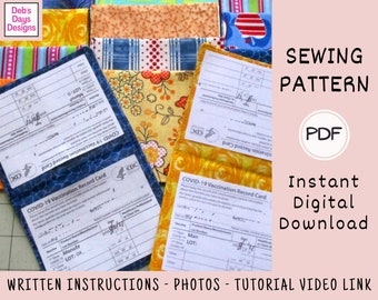 Double Vaccine Cardholder PDF Sewing Pattern, Instant Digital Download, Protect Vaccination Card, DIY Vaccine Fabric Vinyl Wallet for 2