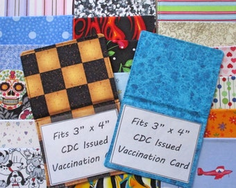 """Vaccination Card Holder, Fabric Vaccine Card Cover, Protect 3"""" x 4"""" CDC Card,  Foldable Vaccination Card Wallet, Handmade Vaccine Card Case"""