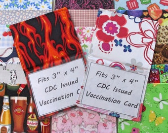 """Vaccination Card Holder, Foldable for 3"""" x 4"""" Card, Clear Vinyl Fabric Vaccine Cover, Foldover Vaccination Card Wallet, Protect Shot Record"""