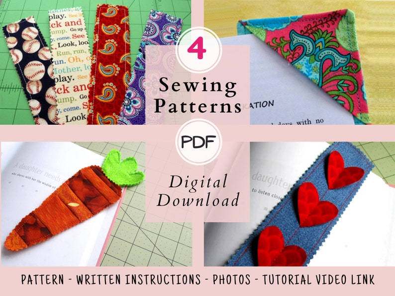 Handmade Bookmarks PDF Sewing Pattern 4 Pack Sew Your Own image 1