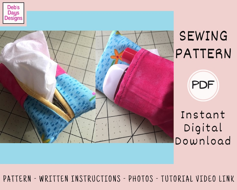 Tissue Hand Sanitizer Holder PDF Sewing PATTERN  Instant image 0