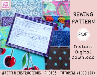 Slim Vaccine Cardholder Sewing PATTERN, Instant Digital Download, DIY Vaccination Card Protector, Clear Vinyl Sleeve, Keep Vaccine Card Safe