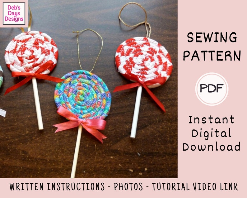 Lollipop Christmas Ornament PDF Sewing Pattern Instant image 0