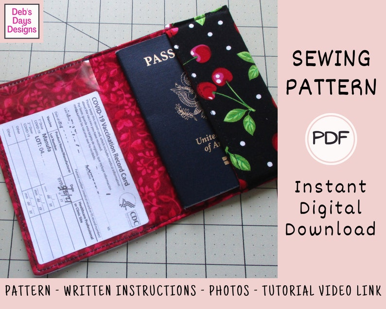 Passport Vaccine Card Holder PDF Sewing PATTERN Instant image 0