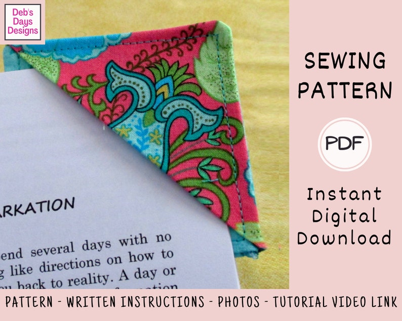 Corner Bookmark PDF Sewing PATTERN Instant Digital Download image 0