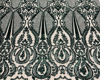4 Way Stretch Sequin Fabric Spandex Mesh-Prom-Gown By The Yard Hunter Green Sequin Damask Design