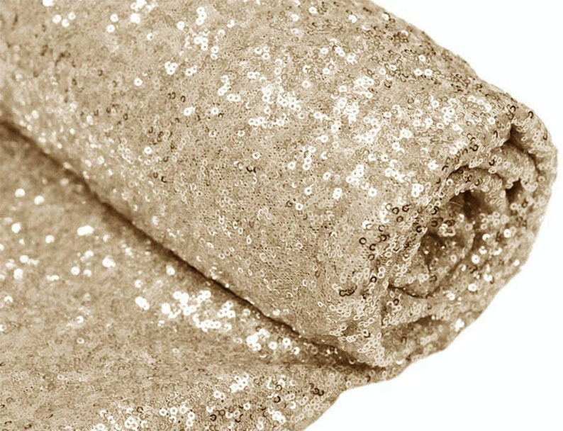 By The Yard Sequin Fabric Dresses-Nightgowns-Prom Gown Choose The Quantity LT Gold Sequin Fabric Mini Glitz Sequins