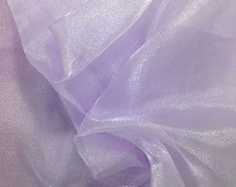 """LAVENDER Sparkle Crystal Sheer Organza Fabric Shiny for Fashion, Crafts, Decorations 60"""" by the Yard (Pick a Size)"""