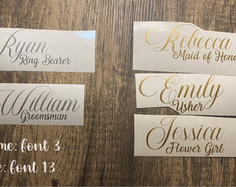 """Custom Name Decals For Champagne Flutes, Martini Glass, Shot Glass, Personalized Wine Glass. Small decal. Up to 4"""" READ DESCRIPTION!"""