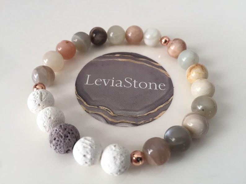 Sunstone Essential Oil Lava Bead Diffuser Pink Zebra Jasper Moonstone /& Rose Gold Hematite Set Stacking Gemstone Beaded Bracelets