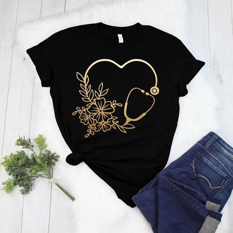 Gearhuman – Floral Stethoscope Nurse Shirt Nurse Life Shirt Registered  –  Tshirt