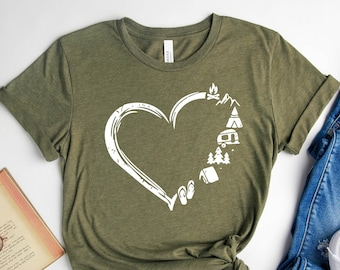 Camp Lover Shirt, Camping Shirt, Camping Heart Shirt, Cute Hiking Shirt, Adventure Shirt, Camper Shirt, Gift for Her