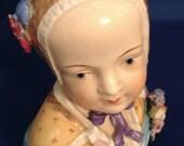 Dresden German Head Bust Figurine, C. 1920s, Meissen type German Porcelain. Lady or young girl