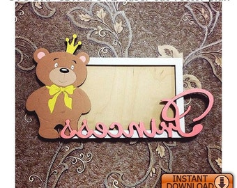 Vintage Teddy Bear Metal and Enamel Picture Photo Frame Heavy 1970s Rectangular