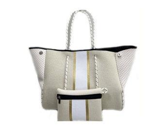 Dark Gold Striped Tote Purse Bag
