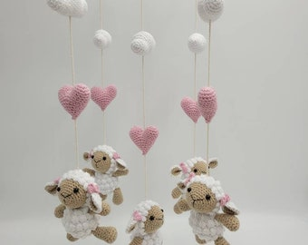 Mobile Crocheted, Baby Mobile, Baby Cot, Amigurumi, Crochet, Handmade, Sheep