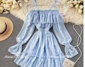 Off shoulder short dress strawberry dress goddess dress cottagecore clothing Bohemian STYLE