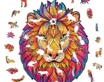 Wooden Jigsaw Puzzles for Adults and Kids Unique Shape Lion Jigsaw Pieces Best Gift Family Game Play Collection for Decorative,Small Size 8.3X7.5inches,110pieces