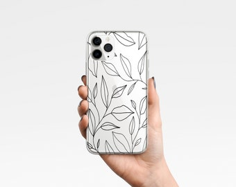 Abstract Clear Phone Case Line Art Leaf Cover for iPhone 12, 7, 8+, XS, XR, 11 & Samsung Ultra, Edge, S21, A40 A50, A51, Huawei P20, P30 Pro