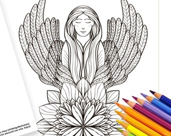 """Sympathy Digital Instant Download,  Angel Lotus Flower Printable 5""""x7"""" Coloring Greeting Card and a Page    Love   Care"""