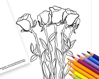 """Instant Digital Download Printable Set - Roses 5""""x7"""" Greeting Card and Coloring Page   Floral Coloring   For  Adults and Kids   Gift Card"""