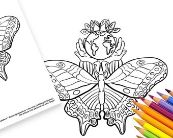 """Earth Nature Digital Instant Download Printable Set -  Coloring 5""""x7"""" Greeting Card, Page - Butterflies, Flowers, Activity for Home"""