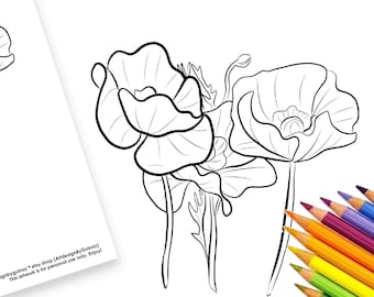 """Digital Instant Download Coloring Set - Poppies Coloring Printable Page and 5""""x7"""" Greeting Card for You, Colouring Activity, Floral Card"""
