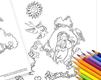 """Love Coloring Set - Printable 5""""x7"""" Greeting Card, Coloring Page, Digital Instant Download, Floral Mother Gift For every Occasion, Flowers"""