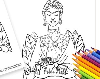 """Frida Kahlo Coloring Set, Digital Instant Download, Floral,  Printable 5""""x7"""" Greeting Card, Coloring Page   Inspirational Woman Gift"""