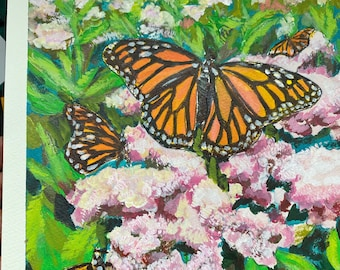Original Acrylic Painting on Watercolor paper Monarch Butterflies - County Landscape countryside