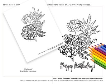 Digital Instant Download Birthday Marigolds Printable Coloring Set - Card and a Page   Flowers for Her for Him Gift for every occasion