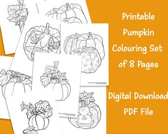 Pumpkin Printable Coloring Set of 8 Pages   Colouring for Adults and Kids   8  Pages of Colouring Drawings for Fall Family Activity